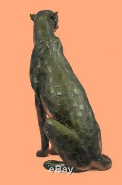 Jaguar Panther Leopard Cougar Big Cat Car Collector Bronze Decor Statue Art Deco
