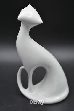 Jaroslav Jezek for Royal Dux abstract Cat in Brussels style white glazed Porcela