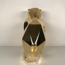 Jaru Gold Plated Ceramic Cat Sculpture Art Deco Mid Century Cubist Geometric Vtg