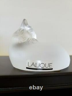 Lalique Crystal Frosted Figurine Paperweight, Happy Cat 1179500 Signed