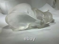 Lalique French Art Deco Frosted Crystal Glass Two Kitty Cats Figurines