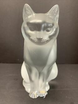 Lalique Frosted Art Glass Chat Assis Seated Cat Heavy Crystal Figure 7 LBS