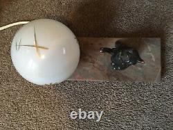 Lamp Art Deco French vintage Cat Glass Globe moon on Marble Base Lamp