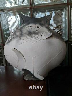Large 11 Cat Mary Gates Dewey (d. 2013) Studio Art Deco Pottery Sculpture! 1995