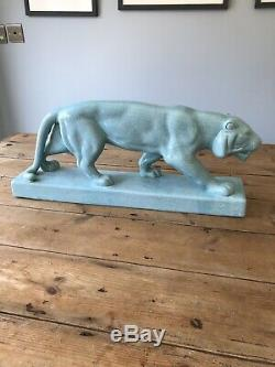 Large Art Deco Style Puma Lion Tiger Big Cat Aqua Porcelain China L&V Ceramics