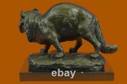 Large Bronze Statue Sculpture Feline Big Cat African Art Deco Home Decoration Nr