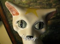 Large CH Brannam Barum Art Pottery Art Deco Cat (Torquay interest)