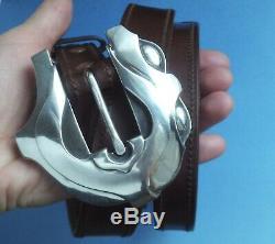 Large Sterling Silver Barry Kieselstein Cord Art Deco Cat's Eyes Buckle Belt
