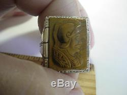 Large Vintage Art Deco 14k 2-tone Gold Cat's Eye Roman Soldier Cameo Ring Sz 10
