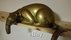 Large Vintage Dolbi Cashier Brass Stylized Panther Cat Sculpture 1980's