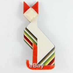 Lea Stein Art Deco Cat Face Brooch Pin White & Multi-Coloured Stripe