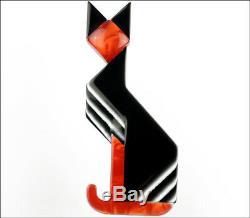 Lea Stein Paris Figural Geometric Art Deco Black Red Egyptian Cat Pet Brooch Pin