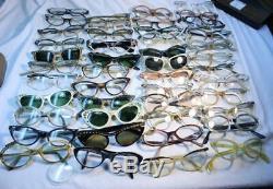 Lot 46 Pair Vintage 50's Womens Glasses FOR PARTS REPAIR Cat Eye Frames Mens