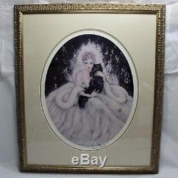 Louis Icart Sweet Mystery Framed Wall Art Woman Black Persian Cat