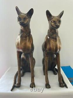Magnificent Pair of French 20th century Art Deco bronze Egyptian Revival cats C