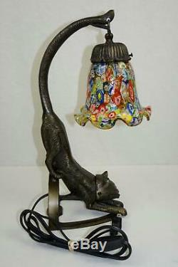 Metal Art Deco Wild Cat Sculpture Desktop Table Lamp Bronze Finish