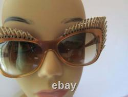 Mikli Paris Cat Eye Lash Sunglasses Lunettes Hand Made France Art Deco Sparkles