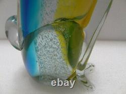 Murano Style Glass Art Sinister Cat Figure Amber Aqua 12 Tall