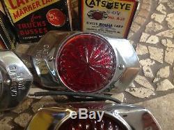 NIB 2 PAIR Amber/red Cats Eye no. 15 ArT DeCo MaRker Light Truck Trailer bus 6v