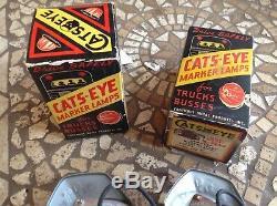 NIB Pair Amber Cats Eye no. 15 ArT DeCo MaRker Light Truck TRAVEL Trailer bus 6v