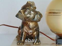 Nice French Art Deco Light Dog And Cat
