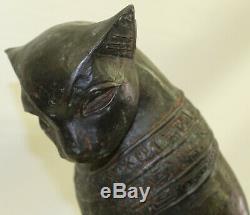 Original Art Deco Egyptian Cat Bronze Sculpture Marble Base Statue Large