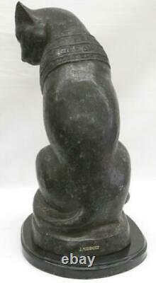 Original Art Deco Egyptian Cat Bronze Sculpture Marble Base Statue Large Decor