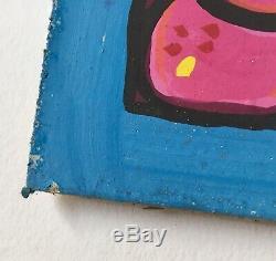 Original Gisella Loeffler Painting, Little Girl & Cat Southwest Listed Artist