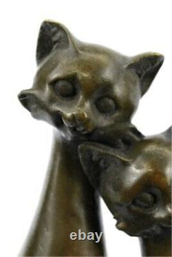 Original Old Cat Bronze Signed Figurine On Base Cats Art Deco Two Cat Sculpture