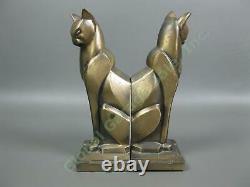 Pair Antique Art Deco Egyptian Revival Cat Bronze Bookend Set Frankart Era Egypt