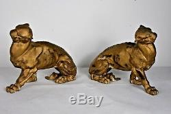 Pair Art Deco Panthers Cast Iron Big Cats RARE (24cm x 9.5cm x 17cm)