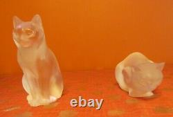 Pair Of Signed Lalique Frosted Crystal Cats/ Chat Couche #11602 & Assia #11603