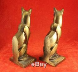 Pair Vintage Stylized Art Deco Cats Brass or Gold Finish Frankart