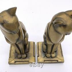 Pair Vintage Stylized Art Deco Design Siamese Cats Frankart Gold/Brass Finish