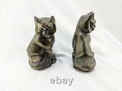 Pair of Art Deco Cubist Metal Cat Bookends OCW 1929