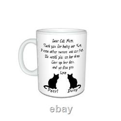 Personalised Cat Name(s), Dear Cat Mum, Thank You Message Mug Gift, Size 11oz