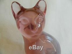 Pink Fenton Siamese Frosted Cat/usa/hand Made/ 5 1/4 Inches Tall