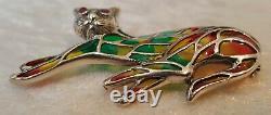 Plique a jour sterling silver & ruby vintage Art Deco antique cat brooch