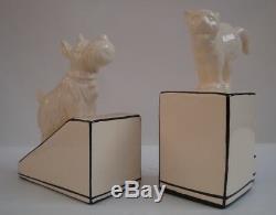 Porcelain Art Deco Style Art Nouveau Style Wildlife Cat Dog Figurine Bookends