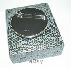 RARE Authentic LALIQUE Cat Chat Satin Green Crystal Pin Brooch New Original Box