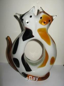 RARE Murano Glass Cat Sculpture Two Cats In Love, Signed Barbini 10 1/2t x 7w