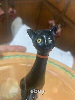 RARE NORITAKE ART DECO WINKING BLACK CAT Orange Luster Cntr Handld Serving Plate