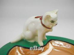 RARE Vintage Art Deco NORITAKE CAT ASHTRAY M-JAPAN