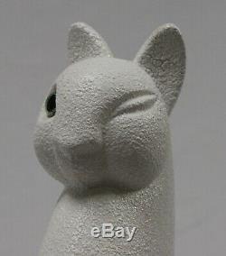 ROYAL HAEGER 21H WINKING WHITE CAT Sculpture. Glass eye. Hallmarked. Purrrfect