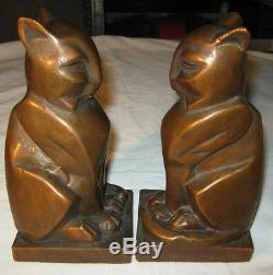 Rare Antique Bronze Clad Art Deco Egyptian Gothic Medieval Cat Statue Bookends