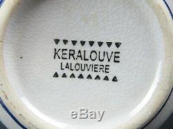 Rare Art Deco Keralouve La Louvière running cats enamel décor craquelé vase