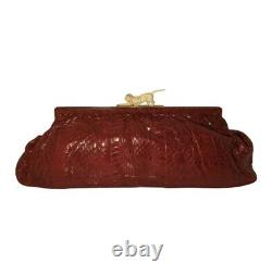 Rare Art deco French 1930s red snakeskin clutch bag with celluloid cat clasp
