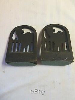 Rare March Girl Cast Iron Bookends with Terrier Dog & Cat Art Deco Era. Pre-owned