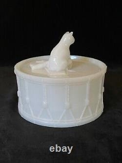 Rare PORTIEUX CAT ON DRUM Milk Glass Covered Dish Antique, Signed c. 1933 #2