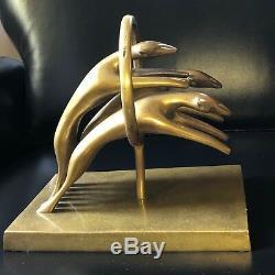 Rare Vintage Dolbi Cashier 1980 Art Deco Modernist Brass Leaping Cats, Sculpture